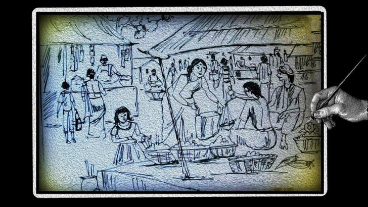 Marvelous Market Pencil Drawing Simple How To Draw Market || Village Market With Ballpoint Pen || Scenery Of  Village Market Step By Step Pic