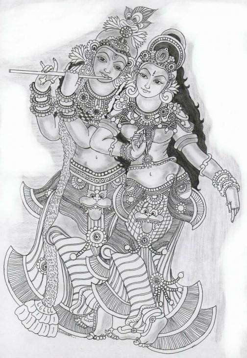 Marvelous Mural Pencil Drawings Courses Drawings | Doodle | Kerala Mural Painting, Kalamkari Painting, Mural Art Photo