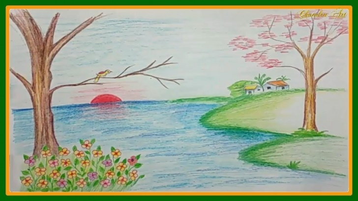 Marvelous Nature Drawing With Pencil Colour Tutorials Landscape Scenery Drawing - Nature Drawing Easy With Colored Pencils Photos