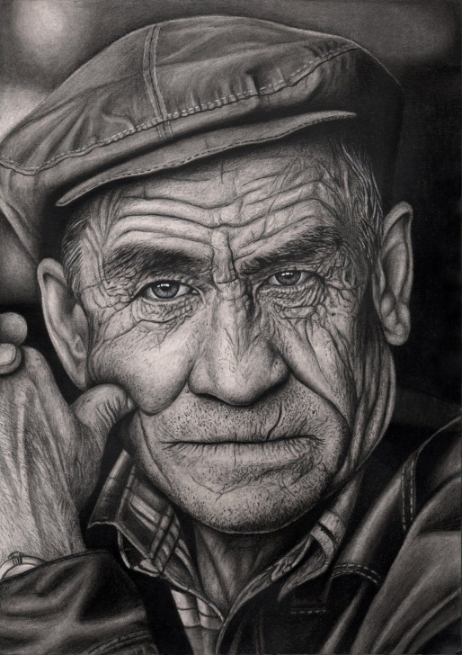 Old Man Drawing Pencil