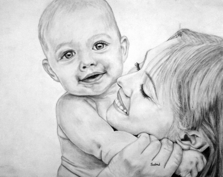 Marvelous Pencil Drawing Mother And Child Simple Sketch Of Mother And Baby At Paintingvalley | Explore Collection Picture
