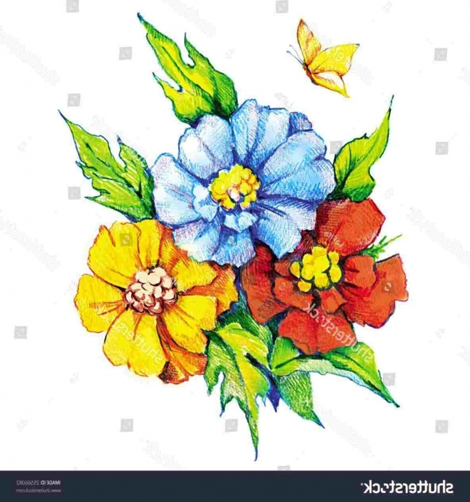 Marvelous Pencil Drawings Of Flowers And Butterflies With Colours Lessons Simple Pencil Drawings Of Flowers And Butterflies Image