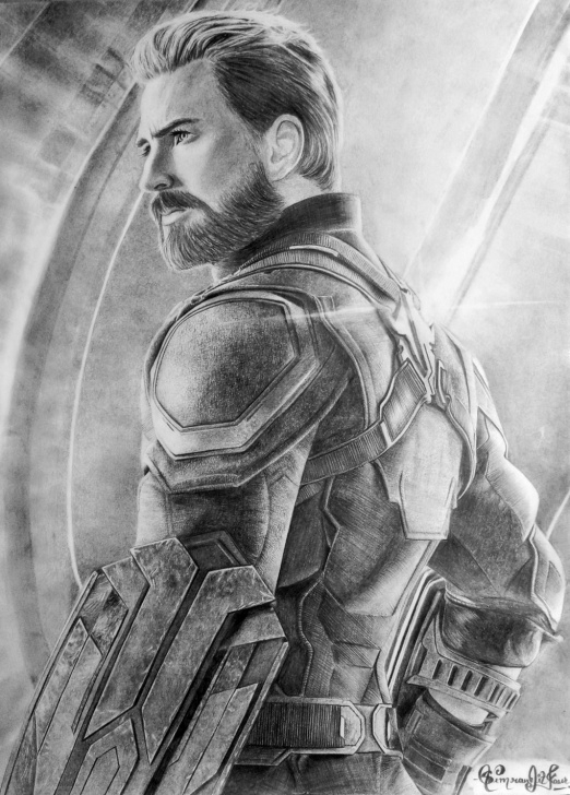 Marvelous Pencil Sketch Of Captain America Courses Chris Evans As Captain America Pencil Sketch Ig Image