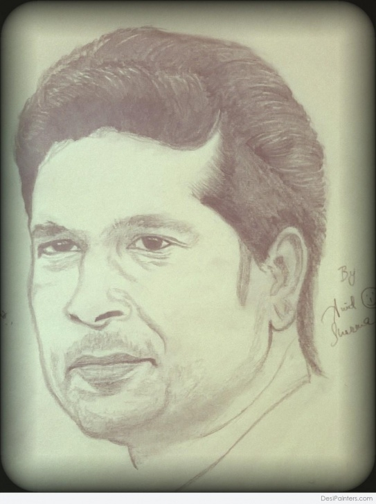 Marvelous Sachin Tendulkar Pencil Sketch for Beginners Pencil Sketch Of Sachin Tendulkar By Amit Sharma | Desipainters Photos