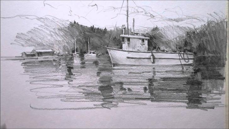 Marvelous Sailboat Pencil Drawing Tutorial Pencil Drawing Boat Images