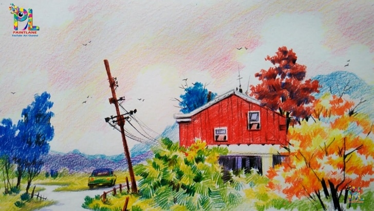 Marvelous Scenery Colour Pencil Drawing for Beginners How To Draw A Sketch And Colored A Landscape For Beginners With Color  Pencils Picture