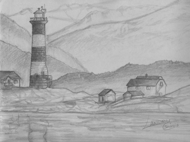 Marvelous Scenery Sketches For Beginners Techniques Easy Pencil Drawings Of Nature 1 X 1 | Drawings | Landscape Drawing Pic