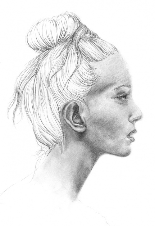 Marvelous Side Portrait Drawing Courses Detailed Pencil Drawing Portrait Of A Girl From The Side - Candid Pictures