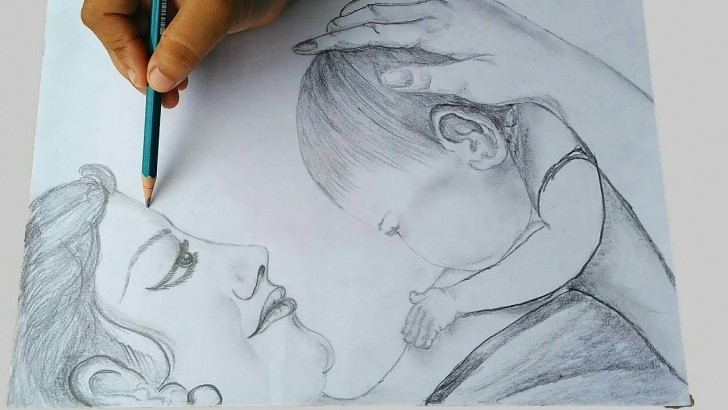 Marvelous Simple Pencil Drawings Of Mother And Baby Courses Sketch Of Mother With Her Baby Images