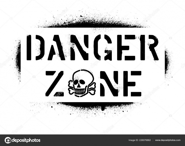 Marvelous Skull Graffiti Stencil Step by Step Danger Zone Warning Message Skull Spray Graffiti Stencil — Stock Image
