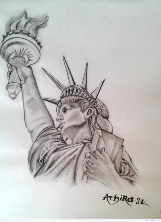 Marvelous Statue Of Liberty Pencil Drawing for Beginners Great Pencil Sketch Of Statue Of Liberty | Desipainters Pics