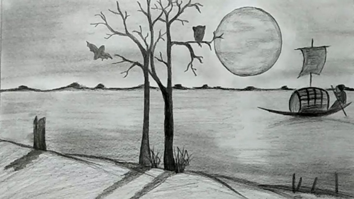 Marvelous Sunset Drawings In Pencil Lessons How To Draw Riverside Sunset Scenery With Pencil Sketch For Beginners Photo