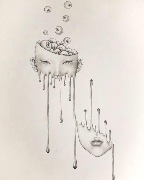 Marvelous Surreal Pencil Drawings for Beginners Melting Girl With Eyeball Surreal Pencil Drawing Horror Wall Decor Dark Art  Popsurrealism Dark Fantasy Pop Dark Fairytale Doom Art Gothic Image