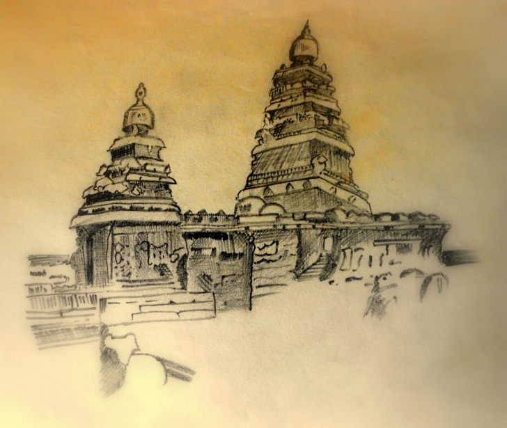 Marvelous Temple Pencil Drawing Easy Easy Morroco Landscape Pencil Drawings And Easy Temples Of Tamilnadu Image