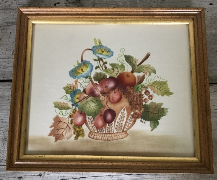 Marvelous Theorem Painting Supplies Techniques Vintage Theorem Painting Fruit And Flowers, Framed. Image