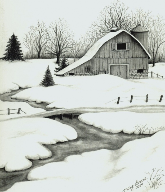 Marvelous Winter Pencil Drawings Easy Winter Barn - Pencil Drawing | Buildingdraw ,oil Painting,photograph Pics