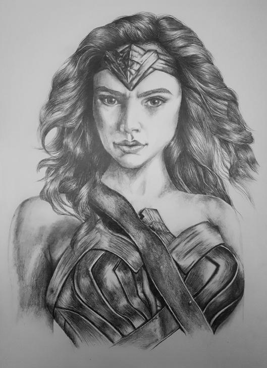 Marvelous Wonder Woman Pencil Drawing Tutorial Gal Gadot As Wonder Woman. A3, Pencil On Paper : Drawing Pics