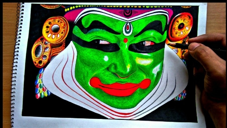 Marvelous Yakshagana Pencil Sketch Tutorials Kathakali Story Portrait (Drawing) -The Indian Classical Dance Form Photos