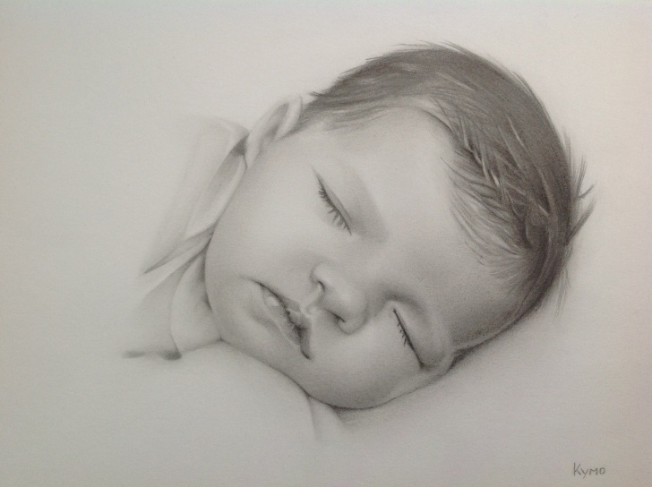 Most Inspiring Baby Drawings In Pencil Techniques Pencil Baby Portrait Made By Kymo-Art. | This Draws Me In In 2019 Image