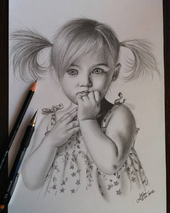 Most Inspiring Baby Girl Pencil Drawing Free Little Girl #draw #sketch #girl #littlegirl #baby #child Pic