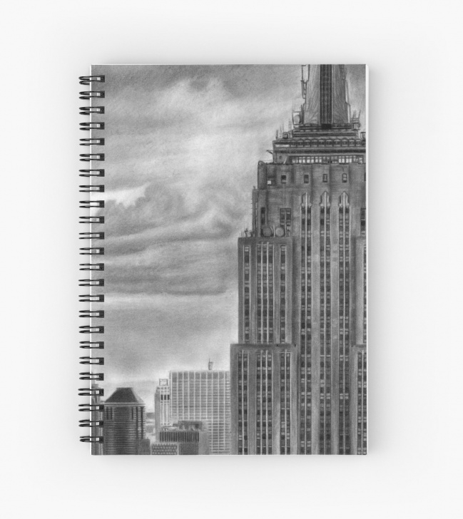 Most Inspiring Building Pencil Drawing for Beginners 'empire State Building New York Pencil Drawing' Spiral Notebook By Daverives Pictures