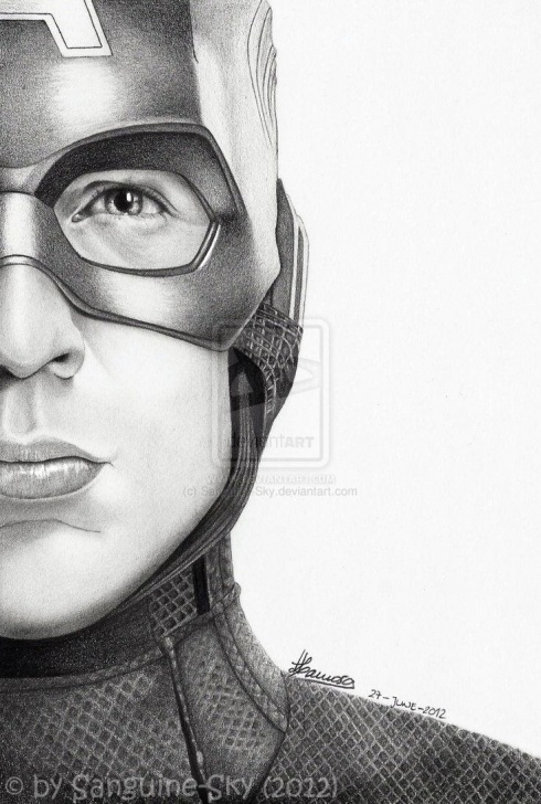 Most Inspiring Captain America Pencil Drawing Free The Avengers Half Series - Captain America By Sanguine-Sky Pics
