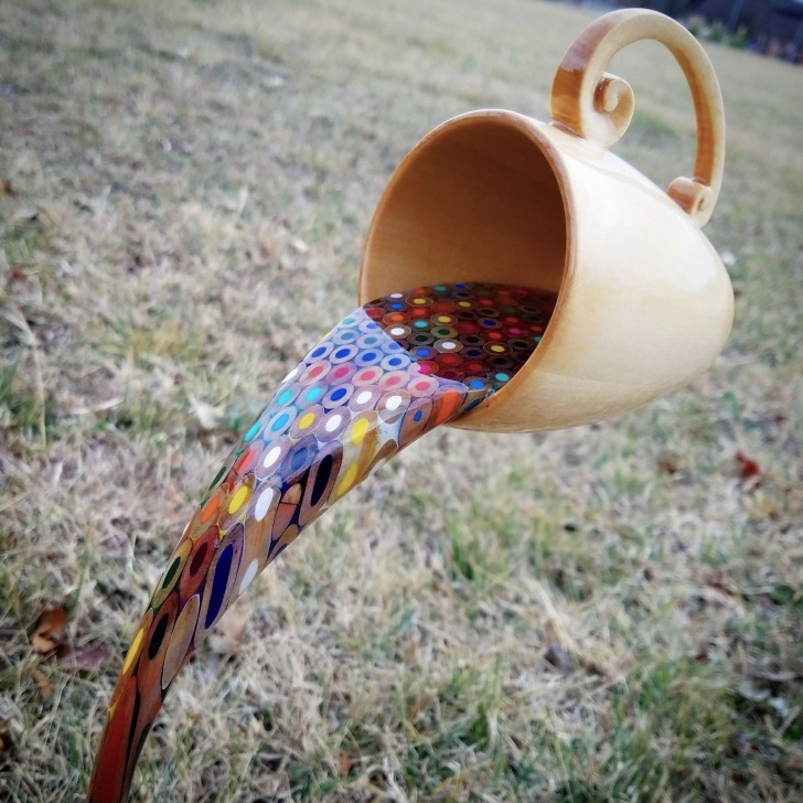 Most Inspiring Colored Pencil Carving for Beginners A Floating Coffee Cup Pours A Rainbow Of Liquid Pencils | Colossal Picture
