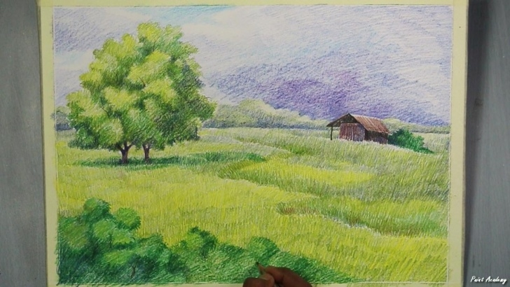 Most Inspiring Colour Pencil Drawing Landscape Lessons A Landscape With Colored Pencil | Step By Step Photos
