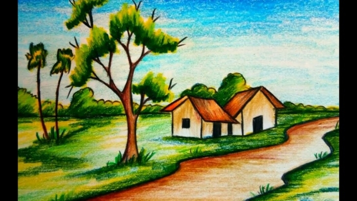 Most Inspiring Colour Shading Drawing Of Scenery Ideas How To Draw A Village Scenery Step By Step With Diamond Colour Pencil Picture