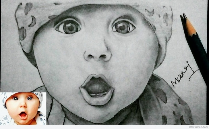 Most Inspiring Cute Baby Pencil Sketch Lessons Pencil Sketch Of Cute Baby | Desipainters Images