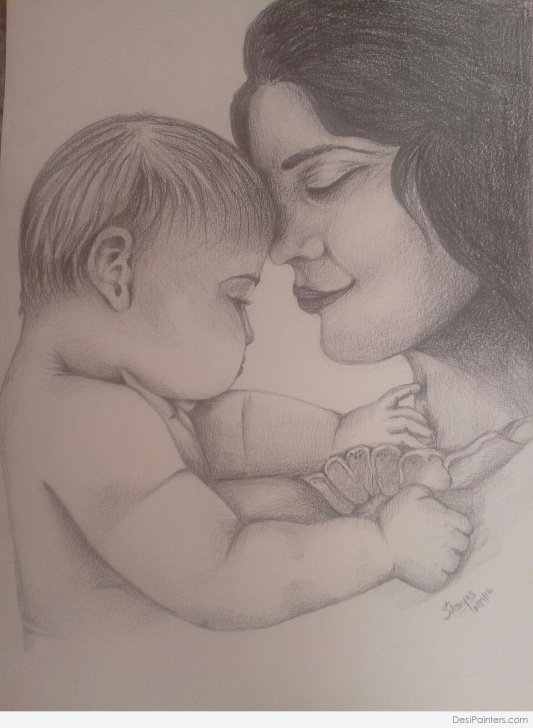 Most Inspiring Heart Touching Pencil Sketches Techniques Heart Touching Pencil Art Of Mom And Child | Desipainters Image