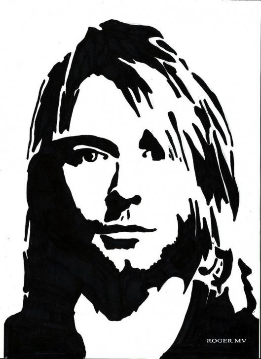 Most Inspiring Kurt Cobain Stencil Art Tutorials Kurt Cobain Self Portrate By Rogermv | Fav Ink | Stencil Art, Art Pictures
