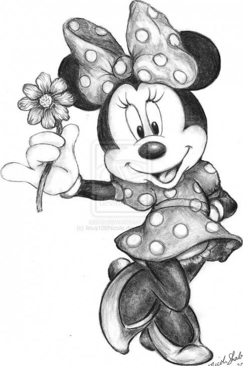 Most Inspiring Mickey Mouse Drawings In Pencil Simple Minnie Mouse In Black And White Then I Would Do Her Bow In Red And Images