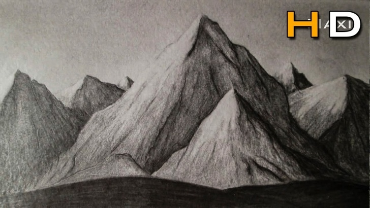 Most Inspiring Mountain Pencil Drawing Step by Step How To Draw Mountains Whith Pencil Step By Step, Drawing Landscape  -Subtitled- Photo