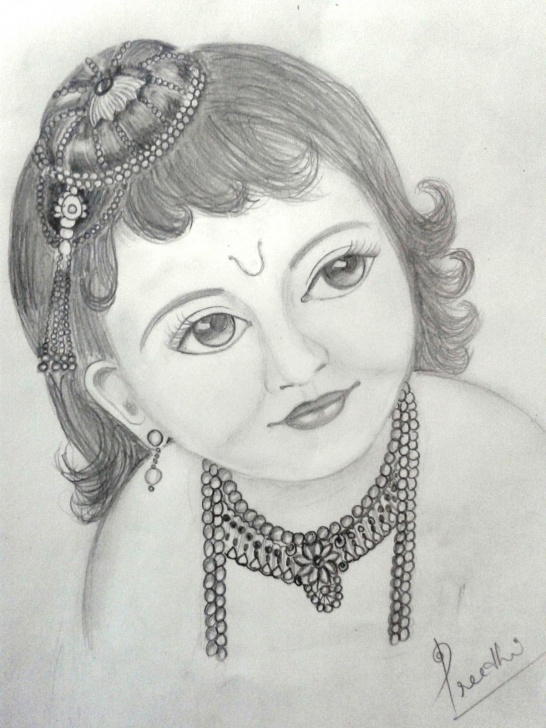 Pencil Shade Drawing Of Krishna