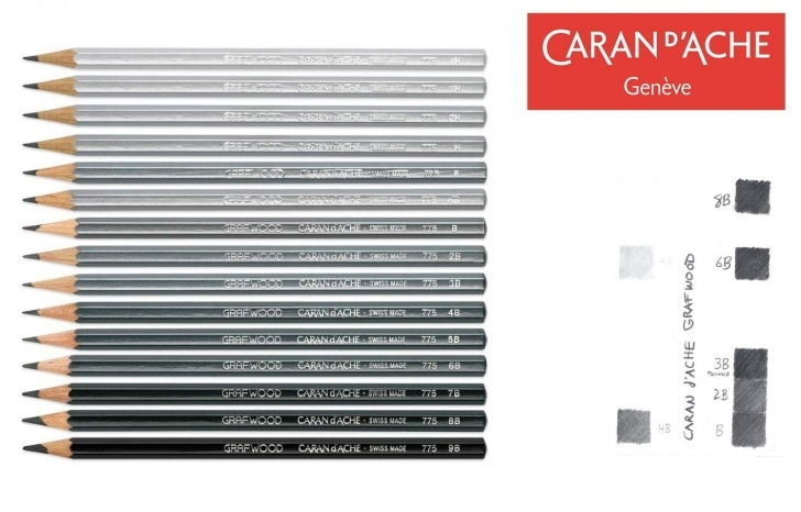 Most Inspiring Pencil Shades Lightest To Darkest Tutorial Caran D'ache - Grafwood Graphite Sketch Pencils - Lot Of 3 Or 6 - Choose 4H  - 9B - Made In Switzerland - Finest Graphite Pencils In The World!-Lot Of Photo