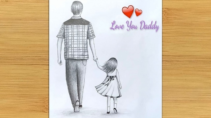 Most Inspiring Pencil Sketches Of Father And Daughter Easy Father's Day Special Drawing || Easy Way To Draw Father And Daughter -Step  By Step Pictures