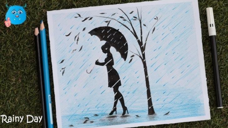 Most Inspiring Rainy Day Pencil Drawing Free How To Draw A Rainy Day Scenery Drawing In Pencil Color Image