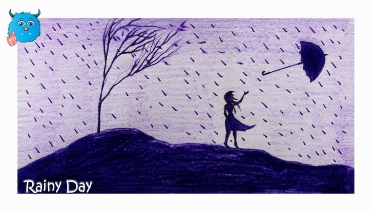 Most Inspiring Rainy Day Pencil Drawing Tutorials How To Draw A Scenery Of Rainy Day Pencil Drawing Easy In Color Pictures