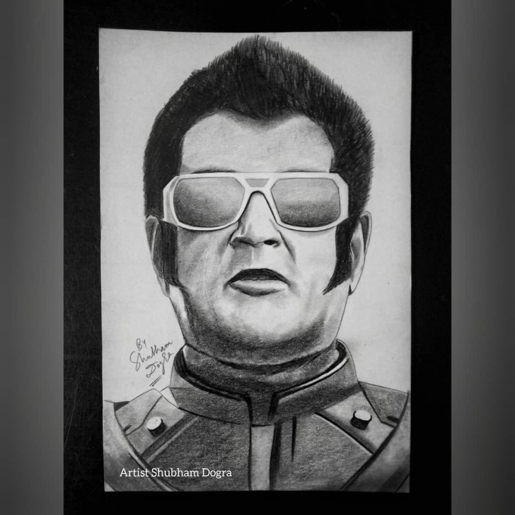 Most Inspiring Rajinikanth Pencil Drawing Lessons Pencil Sketch Of Superstar Rajinikanth As Chitti The Robot In 2.0 Images
