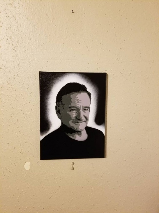 """Most Inspiring Robin Williams Stencil Courses Robin Williams Black, Grey And White Stencil Paintings On 9"""" X 12"""" Canvas -  Spray Paint Art Pictures"""