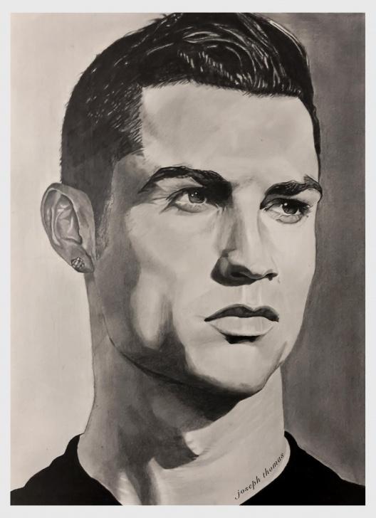 Most Inspiring Ronaldo Pencil Drawing Tutorials Cristiano Ronaldo, A3 Size, Pencil Drawing : Drawing Pics