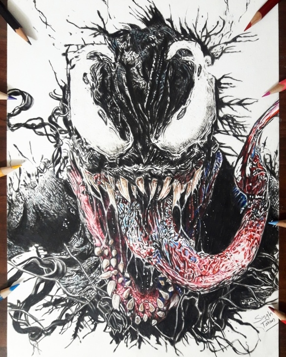 Most Inspiring Venom Drawings In Pencil Courses Fan Made] Venom (Tom Hardy) Color Pencil Drawing By Me. Hope You All Image