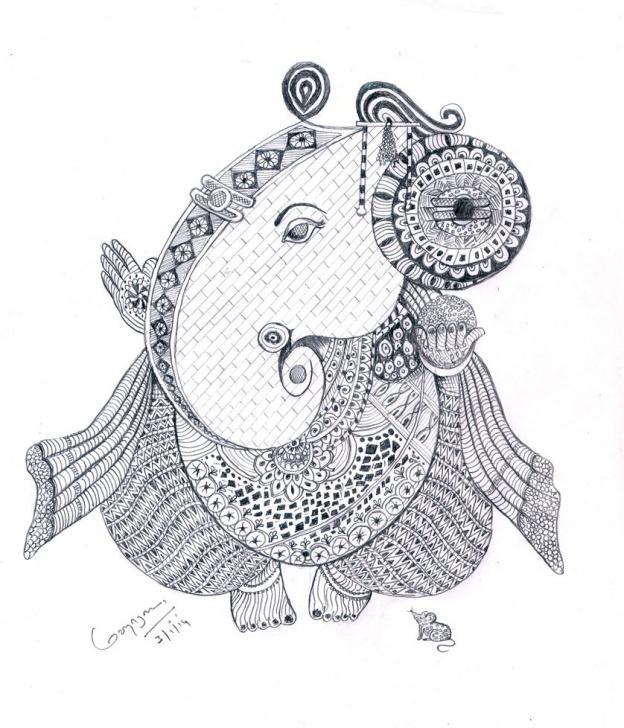 Most Inspiring Vinayagar Pencil Drawing Simple Doodles Art Vinayagar | Pencil Drawing | Art Sketches, Pencil Images