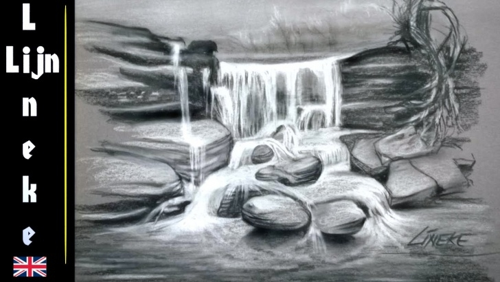 Most Inspiring Waterfall Pencil Sketch Courses Easy Waterfall For Beginners Charcoal Drawing Pic