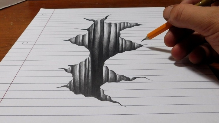 Nice 3D Art On Paper With Pencil Techniques for Beginners Art Ed Central Loves: Trick Art On Line Paper - Drawing 3D Hole Photo
