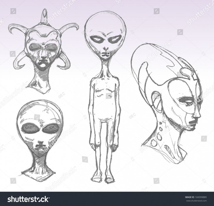 Nice Alien Pencil Drawing Courses Set Alien Portraits Pencil Drawing Sketch Stock Vector (Royalty Free Images