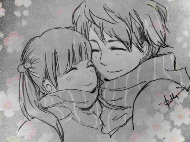 Nice Anime Couples Drawings In Pencil Tutorial By-Anime-Couple-Drawing-In-Pencil-Dragonwarrior-Rhpterestcom-S-Cute Images