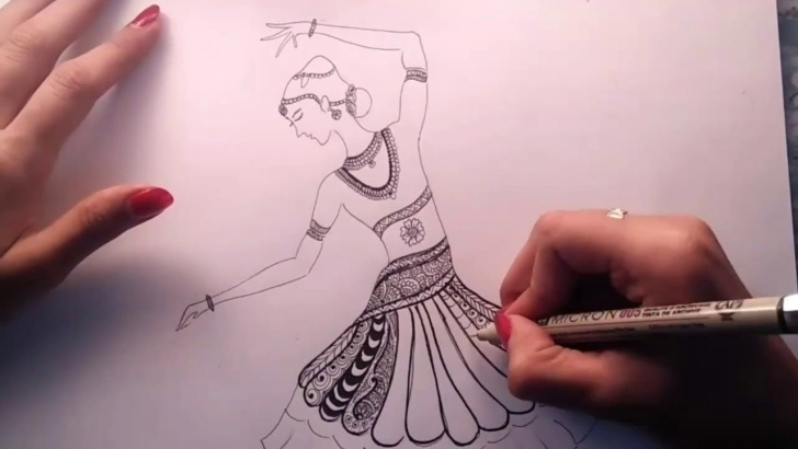 Nice Bharatanatyam Pencil Sketches Simple How To Draw Bharatanatyam Zentangle Art | Speed Drawing Pics