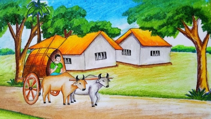 Nice Bullock Cart Pencil Drawing Tutorial How To Draw Scenery Of Bullock Cart With Oil Pastel.step By Step Photo